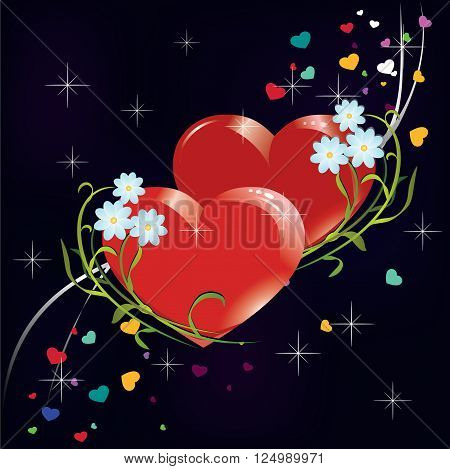 two hearts with flowers on a blue background among the stars