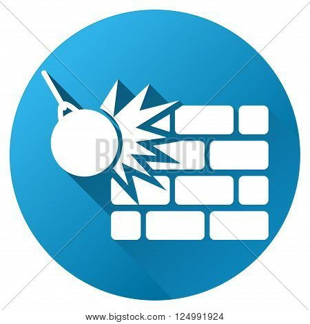 Wall Destruction vector toolbar icon for software design. Style is a white symbol on a round blue circle with gradient shadow.