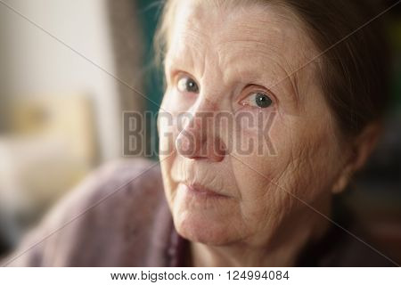 portrait of senior woman in living room, shallow focus photo