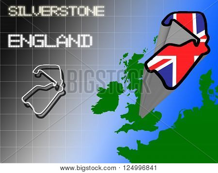 Outline of Silverstone motor racing circuit in England