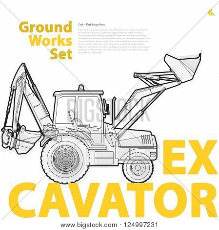 Construction machinery, excavator. Typography set of ground works machines vehicles on white. Construction equipment for building. Master vector illustration. Truck, Digger, Crane, Forklift, Roller