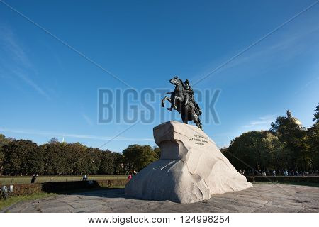 St. Petersburg Russia - October 15 2015: The Bronze Horseman - the most famous monument of Emperor Peter Peter is a masterpiece of the world's monumental art made by sculptor Falcone in 1766 in the capital of the Russian Empire.