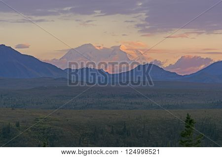 Distant Sunset of Denali in Denali Park from Savage River in Alaska