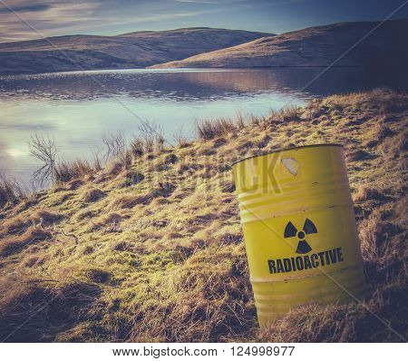 Conceptual Image Of A Radioactive Nuclear Waste Barrel Or Drum Near Water In The Countryside poster