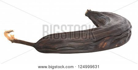 Overripe black banana isolated on white with clipping path