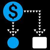 Cashflow Scheme vector icon. Cashflow Scheme icon symbol. Cashflow Scheme icon image. Cashflow Scheme icon picture. Cashflow Scheme pictogram. Flat blue and white cashflow scheme icon. poster