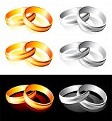 Set of glossy wedding gold and silver rings over white and black poster