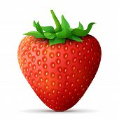 Strawberry fruit close up. Strawberry with leaves isolated on white background. Qualitative vector illustration about strawberry agriculture fruits cooking gastronomy etc. It has transparency blending modes gradient poster