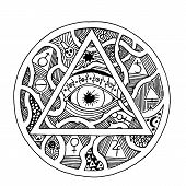 All seeing eye pyramid symbol in tattoo engraving design. Vintage hand drawn freedom, spiritual, occultism and mason sign in doodle style.  Eye of providence illustration. poster