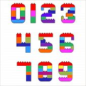 Numerals created from lego blocks. Vector cartoon playing bricks.Children number Vector Set - More Letters in Portfolio. poster