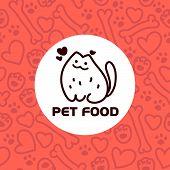 Vector flat pet. Dog, cat simple icon. Pet shop logo, animal goods store, pet food logo brand design. Pet center insignia. Kid shop logo. Seamless pattern. poster