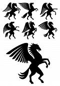 Mythical gorgeous winged pegasus black horses with open wings. Heraldry, coat of arms, equestrian sport symbols or tattoo design usage poster