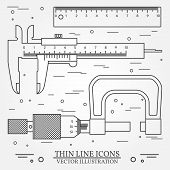 Set vector thin line icons caliper ruler and micrometer. For web design and application interface also useful for infographics. Vector dark grey. Vector illustration. poster