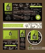 Vegetarian and vegan healthy restaurant cafe set menu graphic design template layout poster