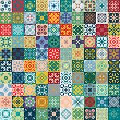 Gorgeous floral patchwork design. Moroccan or Mediterranean square tiles tribal ornaments. For print pattern fills web page background surface textures. Indigo blue teal green olive. poster