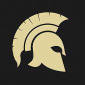 Gladiator icon, Trojan Helmet silhouette, Greek warrior - Spartan, legionnaire heroic soldier. vector poster