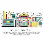 Online University, Online Education, Distance Learning, Workshop Learning concepts. Modern Flat design graphic for web banner, hero image, website slider. Creative Line art vector illustration. poster