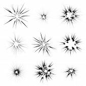 Explode Flash, Cartoon Explosion, Star Burst Isolated on White Background poster