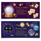 Astrology and alchemy banners magic ball fortune telling poster