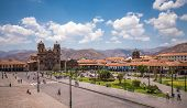 Plaza de Armas in historic center of Cusco Peru poster