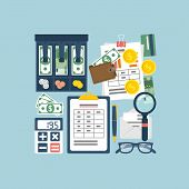 Budget planning concept. Financial accounting. Organization process. Flat style vector. Personal finance. Payment of taxes. Finance planning. Accounting money. Financial calculation. Management. poster