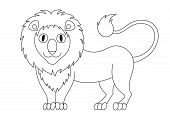 Cute modest cartoon lion with fluffy mane and kind muzzle, lion smile and look. Vector illustration, coloring book page for children poster