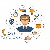 Customer service technical support customer support technical service call center. Vector illustration flat design. poster