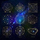 Sacred geometry forms on space background, shapes of lines, logo, sign, symbol. Geometric patterns. Geometry symbolic. Vector isolate geometry shapes. poster