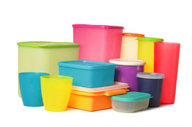 Colorful Plastic Container Over White Background