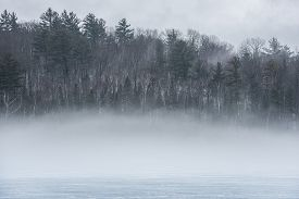 Warm air, cold layers, pale waterfront deciduous Eastern Ontario forest on an early gray day of melting Ice & spring corn snow on thawing Ontario lake.