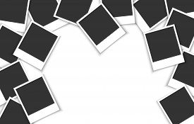 Pile of photo frames on a white background