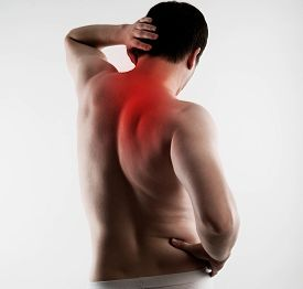 Torso of young man having backbone problem indicated with red. Neck and back pain. Scoliosis treatment concept