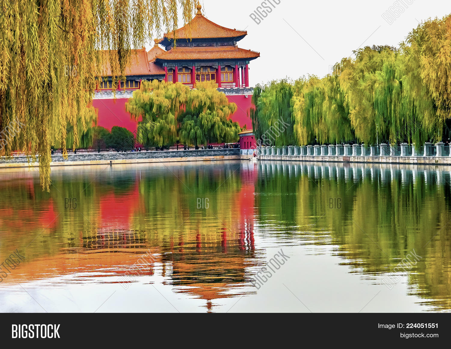 Meridian Gate Reflection Gugong Forbidden City Palace Wall Beijing China Emperors Built In The