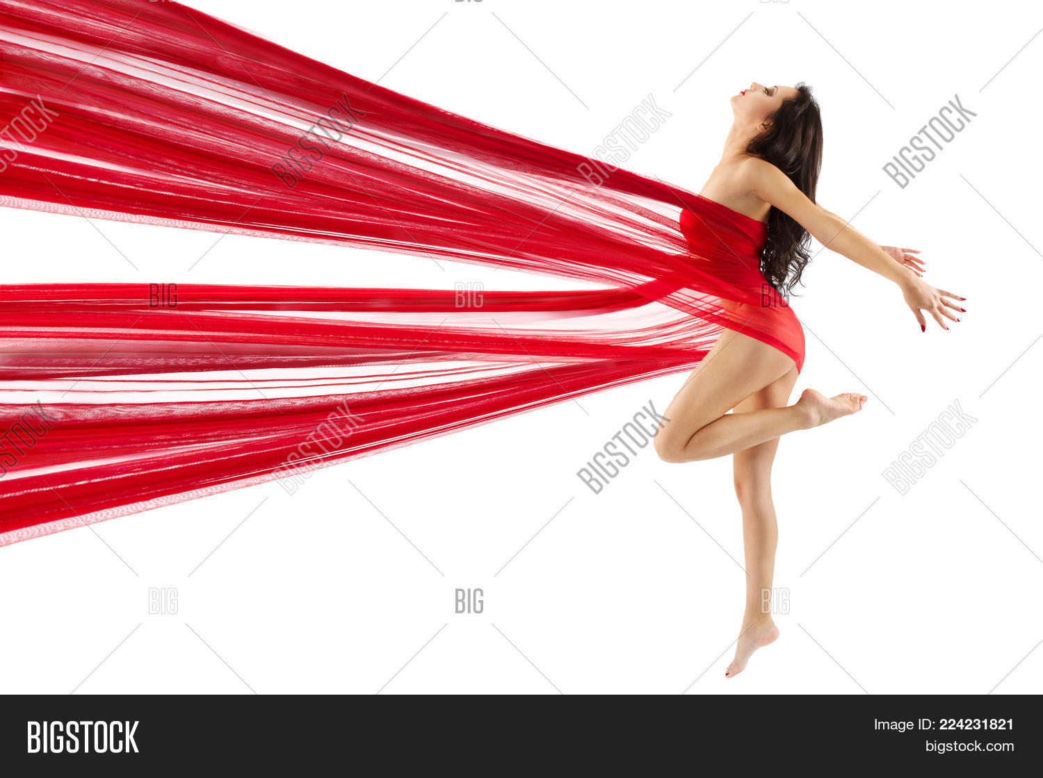 Woman Dance Red Fabric, Sexy Model Dancing Modern Sport Gymnastics, Young  Girl Isolated on