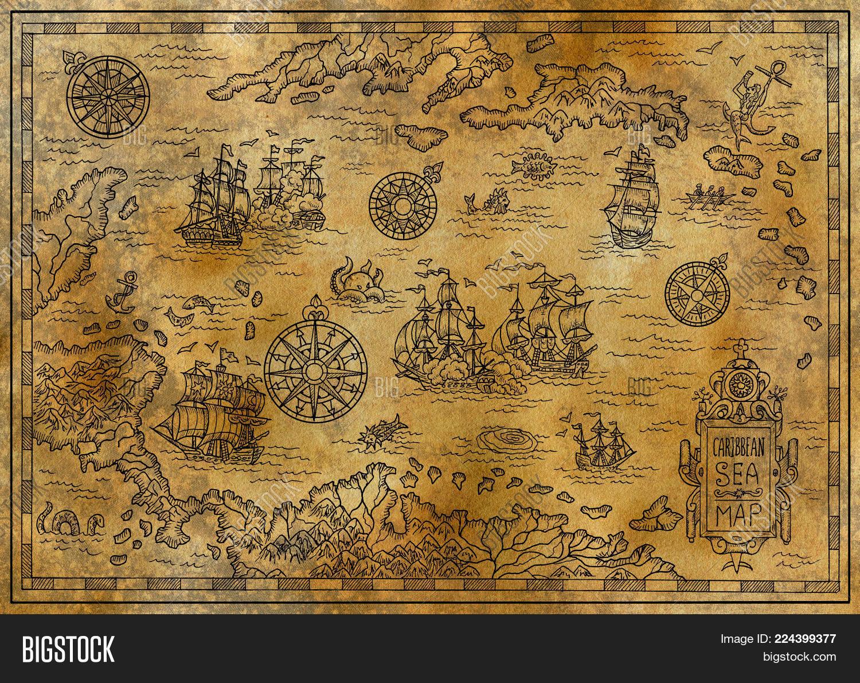 Old Map Caribbean Sea Image & Photo (Free Trial) | Bigstock