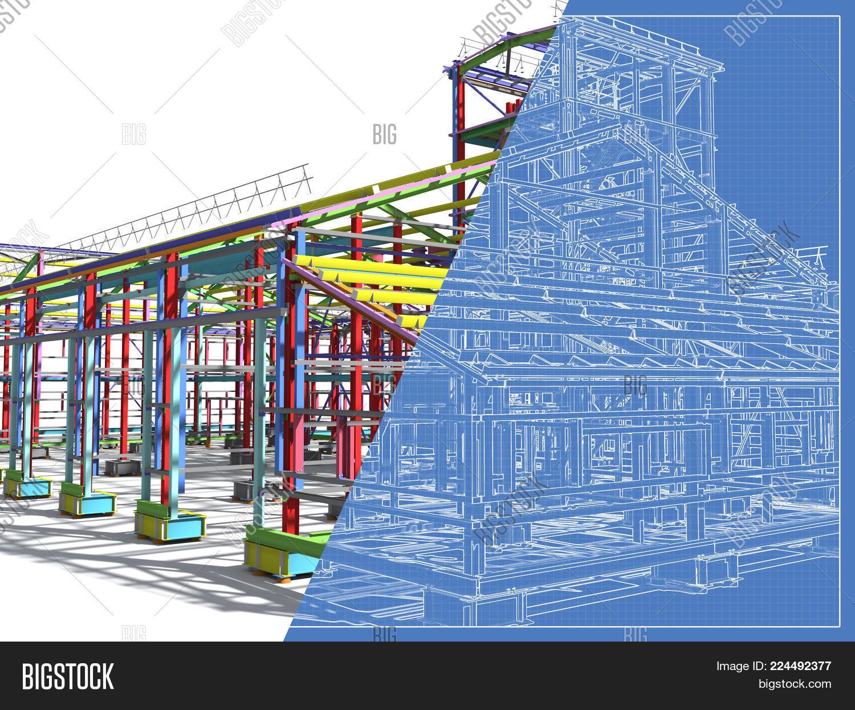 3d rendering image photo free trial bigstock construction of metal buildings engineering background blueprint construction background malvernweather Images