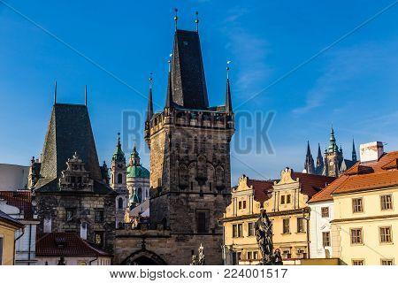 Bridge Tower And St. Nicholas Church Tower In Lesser Town (Mala Strana) - Prague, Czech Republic, Europe
