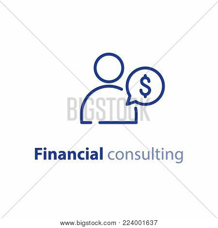 Financial advisor, business consulting, investment assistance, finance guidance concept, vector mono line icon