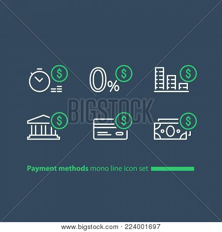Payment methods, financial items set, zero percent commission fee, credit card money transaction, payment installment plan, vector mono line icons
