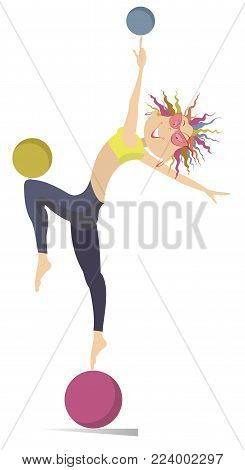Smiling cartoon young woman do exercises with the ball vector illustration. Funny young woman with multicolor hair standing on the ball and doing exercises with the balls isolated on white illustration