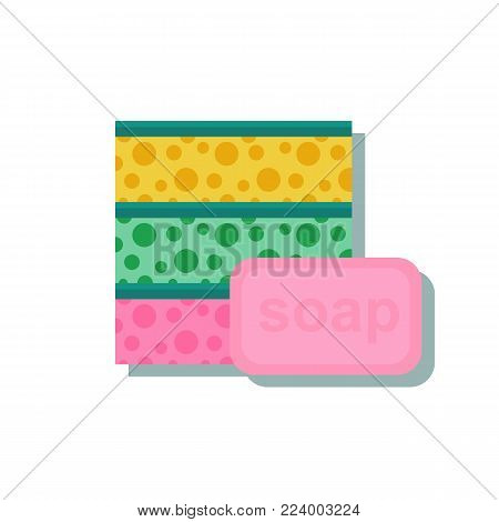 bar of soap and colorful sponge to wash. Stock flat vector illustration.