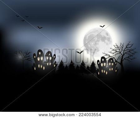 Halloween background. Halloween landscape with full moon. Mysterious vector illustration.