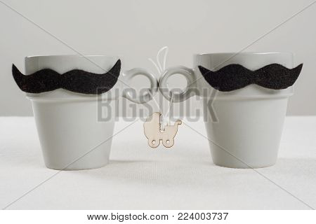 The concept child in homosexual family. Symbolic cups with a mustache, stroller with a baby.