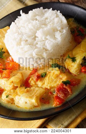 Brazilian Stew Fish With Vegetables And Coconut Milk Close-up In A Bowl. Horizontal Top View