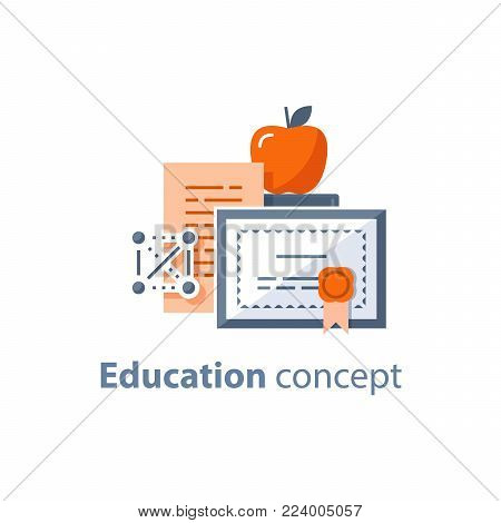 Education concept, graduation diploma, degree certificate, accomplishment, vector line icon, thin stroke