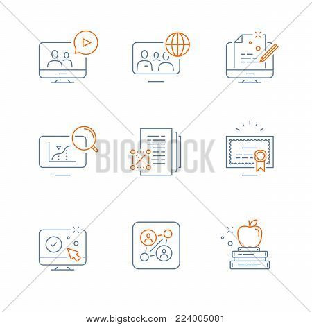Online education, video course, global community, exam preparation, information analysis, science study, scholarship concept, graduation degree certificate, writing test, vector line icon, thin stroke