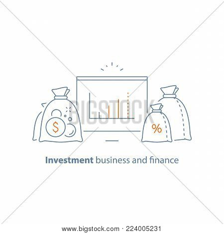 Income increase vector line icon, long term investing strategy, financial analysis graph, capital growth, asset evaluation, high interest rate, make more money, fund raising, money saving, accountancy