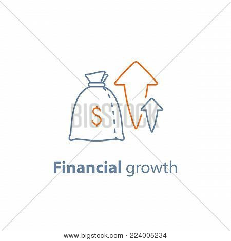 Income increase vector line icon, long term investing strategy, financial profit, capital growth arrow, asset evaluation, high interest rate, make more money, fund raising, pension savings account