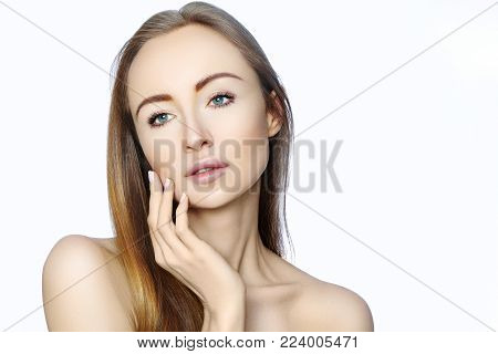 Portrait Of Beautiful Woman With Perfect Clean Skin. Spa Look, Wellness And Health Face. Daily Make-
