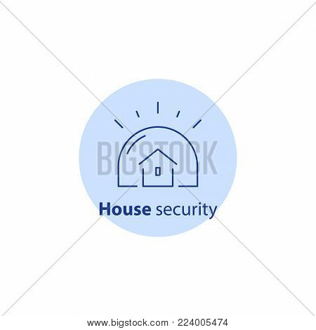 House burglary, break in home, security service, guard system, robbery prevention, intrusion protection, property insurance, vector line icon